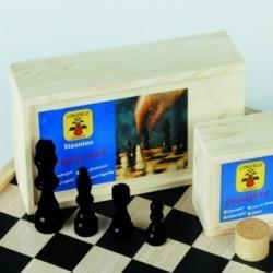 Schaakstukken hout in kist,...